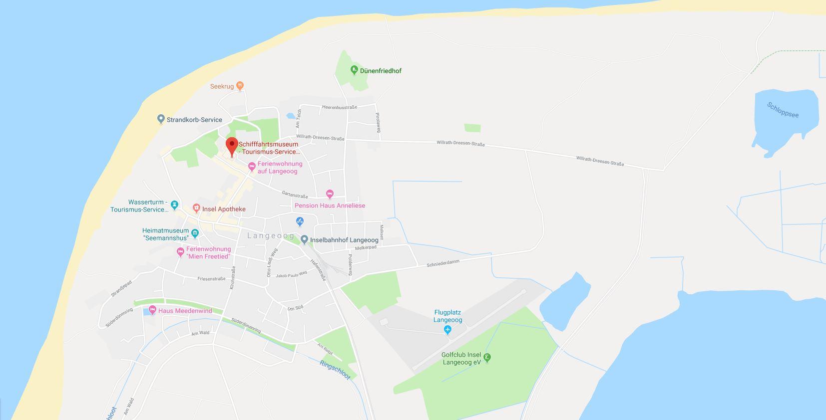 Lage des Schiffahrtsmuseums auf Langeoog